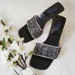 BCBG MaxAzria Beaded Block Heel Mule Slide Sandals